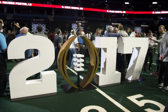 The logo for the NCAA Football National Championship is seen during media day, in Tampa, Florida on January 7, 2017. Alabama Crimson Tide will take on the Clemson Tigers in the National College Football Championship on Monday. Photo by Trevor Elliott/UPI