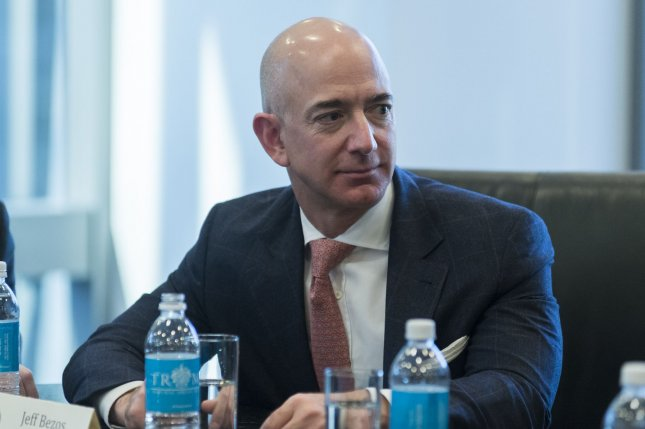 Amazon CEO Jeff Bezos attends a technology roundtable meeting hosted by Donald Trump at Trump Tower in New York on Dec. 14, 2016. Trump invited the heads of various technology companies and members of his future cabinet to discuss regulations. Pool photo by Albin Lohr-Jones/UPI