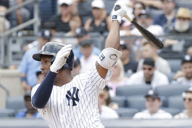 New York Yankees' Miguel Andujar drives in a run in the 4th inning against the Kansas City Royals on July 29 at Yankee Stadium in New York City. Photo by John Angelillo/UPI