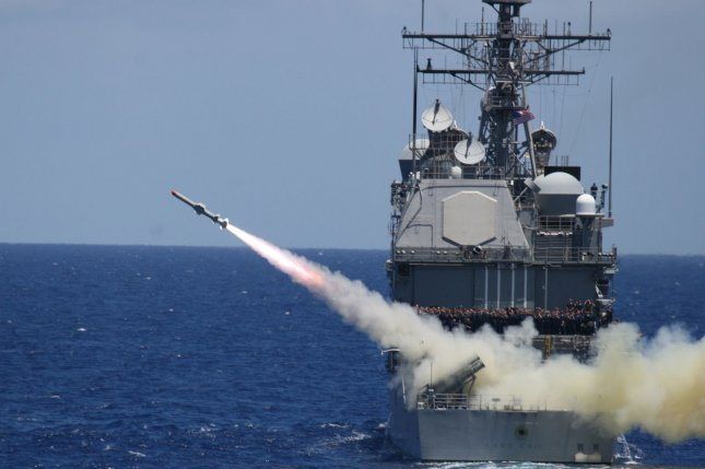 The guided-missile cruiser USS Lake Erie (CG 70) fires an AGM-84 Harpoon anti-ship missile during Rim of the Pacific (RIMPAC) in the Pacific Ocean on July 11, 2008. RIMPAC is a biannual exercise hosted by the U.S. Pacific Fleet that brings together military forces from Australia, Canada, Chile, Peru, Japan, the Netherlands, Singapore, the United Kingdom and the Republic of Korea. (UPI Photo/U.S. Navy)
