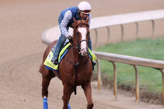 Improbable continues to train for the Preakness Stakes on May 18 in Baltimore. File Photo by John Sommers II/UPI