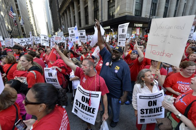 The Chicago Teachers Union last went on strike in September 2012. File Photo by Brian Kersey/UPI