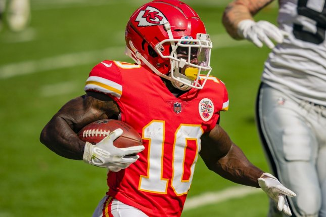 Kansas City Chiefs wide receiver Tyreek Hill (10) has scored in every game this season and is my top fantasy football wide receiver for Week 6. File Photo by Kyle Rivas/UPI