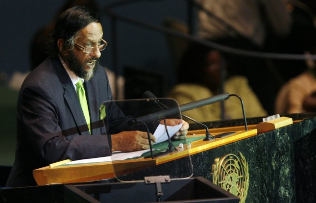 Rajendra Pachauri, chair of the Intergovernmental Panel on Climate Change, speaks before U.S. President Barack Obama delivers remarks at UN Secretary General Ban Ki-moon's Climate Change Summit at the United Nations Headquarters in New York City on September 22, 2009. UPI/John Angelillo
