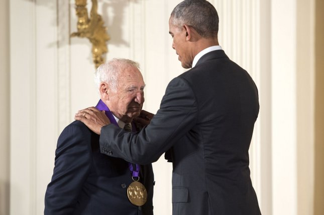 President Barack Obama awards the National Medal of Arts to actor and comedian Mel Brooks during a ceremony at the White House in Washington, D.C., on September 22, 2016. Obama awarded the awarded the 2015 National Medal of Arts and National Humanities Medals to 24 recipients. Photo by Kevin Dietsch/UPI