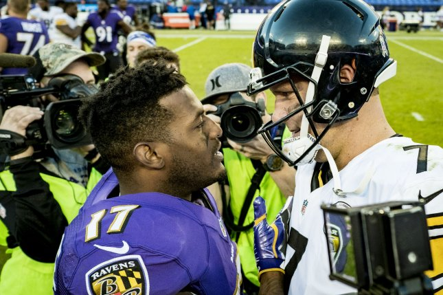 Baltimore Ravens wide receiver and former Steeler Mike Wallace talks with Pittsburgh Steelers quarterback Ben Roethlisberger after their game at M&T Bank Stadium in Baltimore, Maryland on November 6, 2016. Baltimore won the game 21-14. Photo by Pete Marovich/UPI
