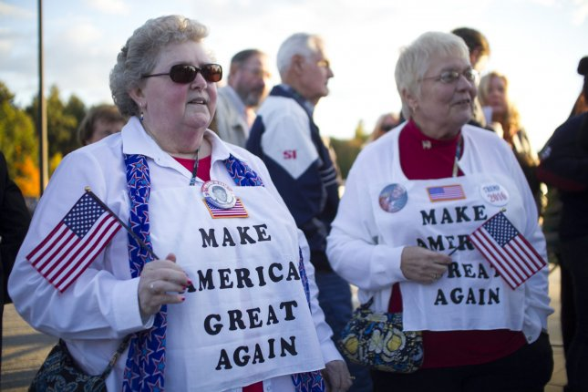 Jean Dean (L) of and Carol Devanney of Tyngsboro, Mass., show their support for Donald Trump at a rally on October 16. Photo by Matthew Healey/UPI
