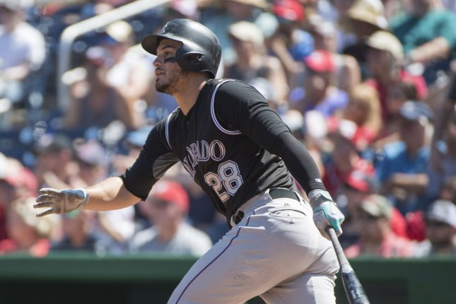 Colorado Rockies' Nolan Arenado hits the ball. File photo by Pat Benic/UPI