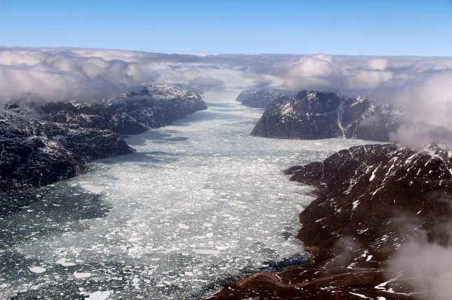 New research suggests Greenland's fjords are becoming less saline as freshwater from melting ice is flushed in by ocean currents. Photo by Nathan Kurtz/NASA/UPI