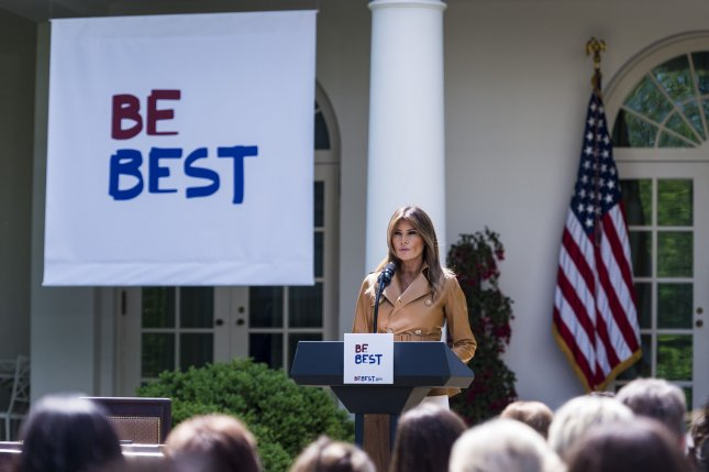 First lady Melania Trump announced the Be Best campaign, focusing on well-being, social media use and opioid abuse among children. Photo by Pete Marovich/UPI