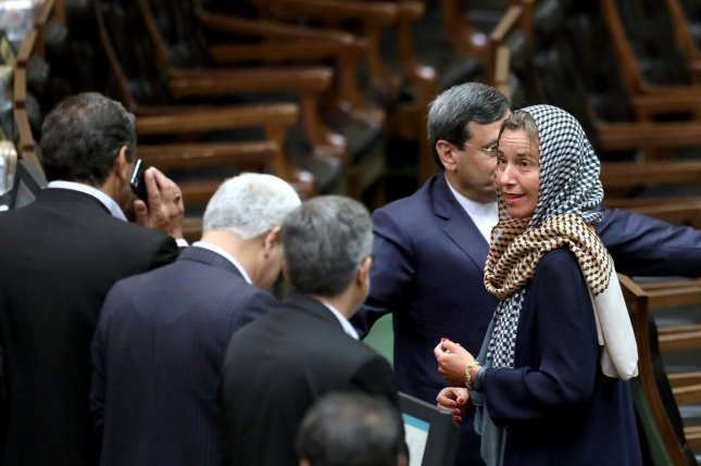 European Union foreign policy chief Federica Mogherini (R) unveiled a multimillion-dollar support package to help prop up an Iranian economy under U.S. sanctions pressure. Photo by Maryam Rahmanian/UPI
