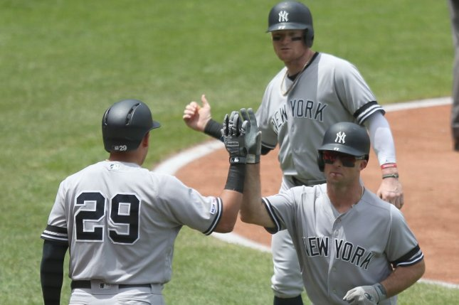 New York Yankees left fielder Brett Gardner had his ninth home run of the year in Sunday's 7-6 win over the Cleveland Indians. Photo by Aaron Josefczyk/UPI