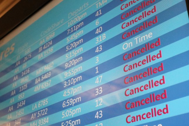 More than 1,000 U.S. flights were canceled for the second consecutive day amid a winter storm on Monday. File Photo by John Angelillo/UPI