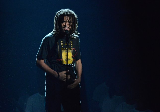 J. Cole performs a medley Intro/Friends during the 18th annual BET Awards in Los Angeles in 2018. File Photo by Jim Ruymen/UPI