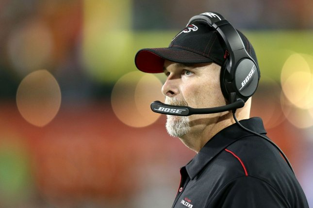 Arthur Smith replaces former Atlanta Falcons head coach Dan Quinn (pictured), who was fired in October after a 0-5 start. File Photo by Aaron Josefczyk/UPI