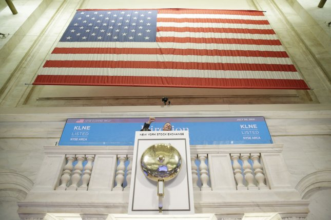 A large American flag hangs at the New York Stock Exchange on Wall Street in New York City last Friday. Photo by John Angelillo/UPI