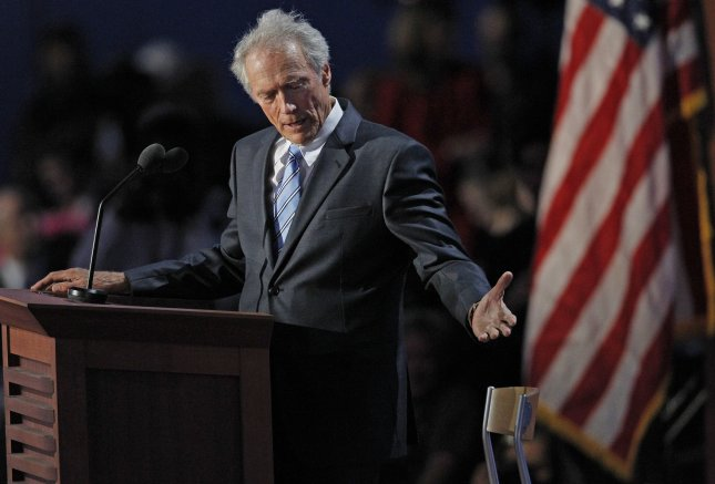 Actor and director Clint Eastwood motions to a chair that represents President Barack Obama during his speech at the 2012 Republican National Convention at the Tampa Bay Times Forum in Tampa on Aug. 30, 2012. -- UPI/Matthew Healey