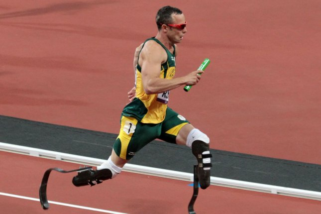 South Africa's Oscar Pistorius runs in the Men's 4x400 metres final on the eighth day of the Athletics in the Olympics stadium at the London 2012 Summer Olympics on August 10, 2012 in London. (UPI/Hugo Philpott)
