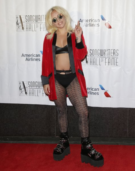 Lady Gaga arrives on the red carpet at the 46th annual Songwriters Hall of Fame 2015 induction and awards gala at the Marriott Marquis in New York City on June 18, 2015. Gaga received the first-ever Contemporary Icon Award, initiated to celebrate a songwriter-artist who has attained iconic status in pop culture. Photo by John Angelillo/UPI