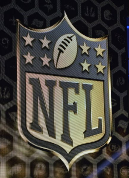 The NFL logo is displayed during the first round of the NFL Draft on April 30, 2015 in Chicago. File photo by Brian Kersey/UPI