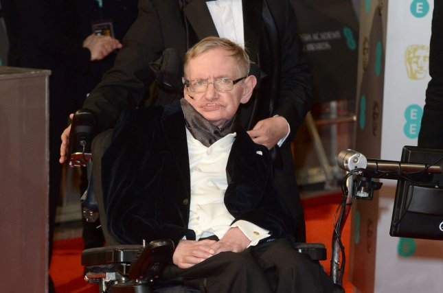 Memorabilia belonging to physicist Stephen Hawking, including his motorized wheelchair, are available, beginning Wednesday, in an online auction. Hawking, 76, died in March. File Photo by Paul Treadway/UPI