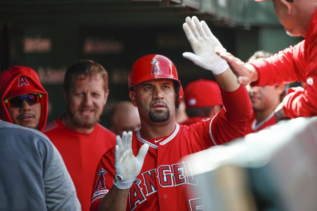 Los Angeles Angels first baseman Albert Pujols passed Barry Bonds for third on the MLB's all-time RBI list. Pujols has 1,997 career RBIs. File Photo by Kamil Krzaczynski/UPI