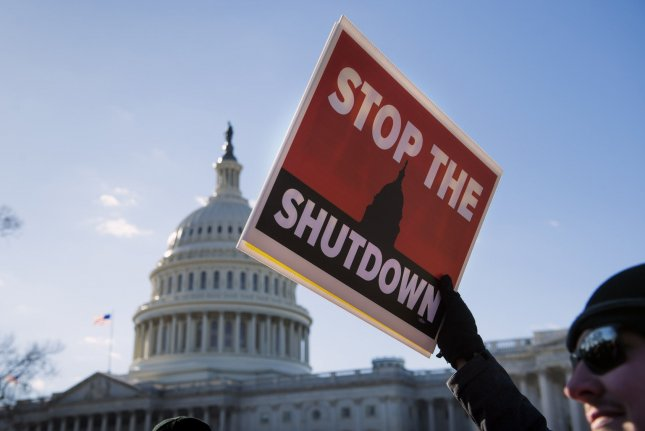 Activists oppose the federal government shutdown on January 10 in front of the U.S. Capitol in Washington, D.C. The work stoppage ultimately lasted for 35 days. File Photo by Kevin Dietsch/UPI