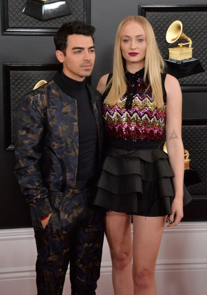 Sophie Turner (R) and Joe Jonas are expecting their first child together. File Photo by Jim Ruymen/UPI