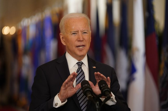 President Joe Biden delivers a nationally televised address to the nation on the one-year anniversary of the COVID-19 pandemic shutdown in the East Room of the White House on Thursday. Photo by Chris Kleponis/UPI