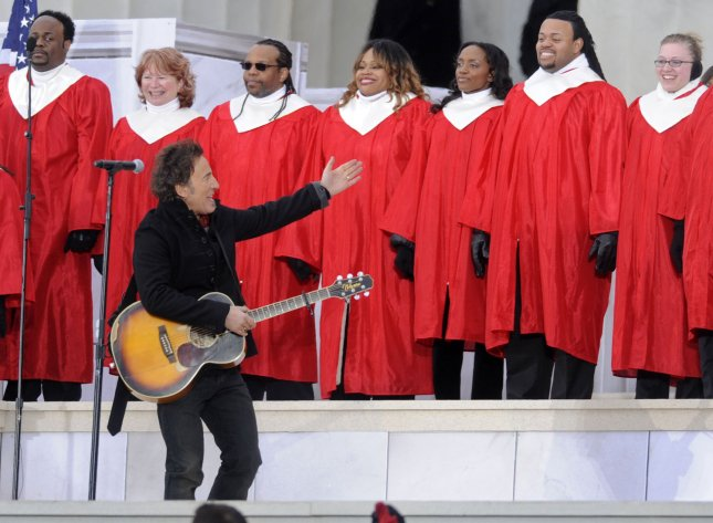 Bruce Springsteen performs during the We Are One inaugural opening ceremony concert at the Lincoln Memorial in Washington on January 18, 2009. (UPI Photo/Kevin Dietsch)