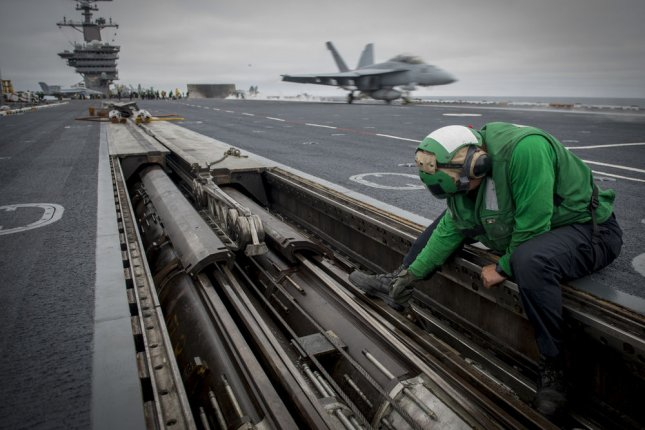 The Nimitz-class supercarrier USS Carl Vinson and its 5,500 crew members are to arrive in the South Korean port city of Busan Wednesday. File Photo by Specialist 3rd Class Sean Castellano/U.S. Navy/UPI