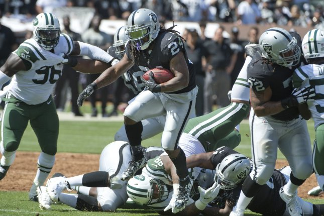 Marshawn Lynch got hype during his first home game as a Raider