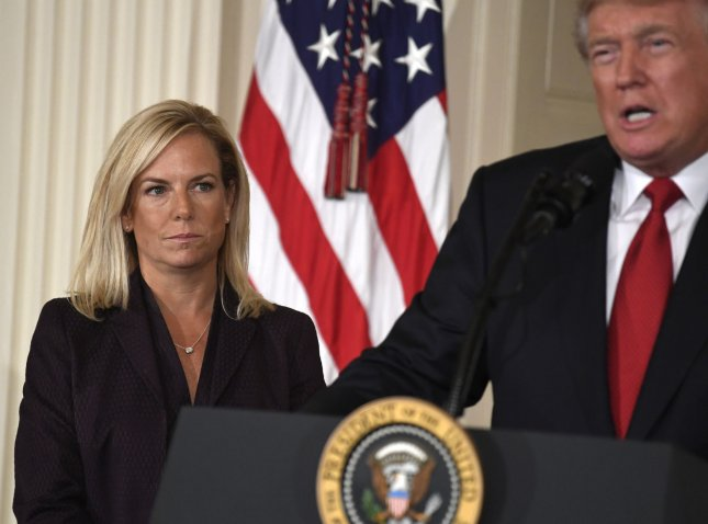 President Donald Trump nominated Kirstjen Nielsen to lead the Department of Homeland Security on October 12. On Tuesday, the Senate confirmed her nomination. File Photo by Mike Theiler/UPI