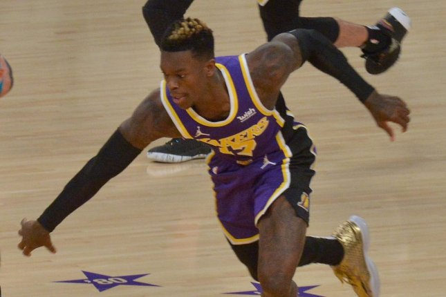 Los Angeles Lakers guard Dennis Schroder (pictured) said he was attempting to help O.G. Anunoby get to his feet before the Toronto Raptors forward threw him to the floor Tuesday in Tampa, Fla. File Photo by Jim Ruymen/UPI
