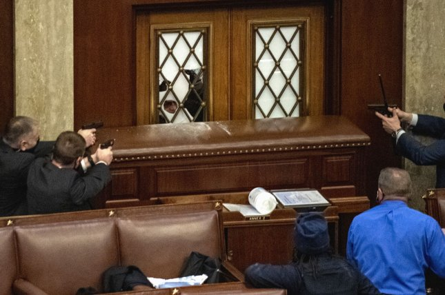 Rioters broke the glass to the main door of the House Chamber and entered on Jan. 6. Photo by Pat Benic/UPI