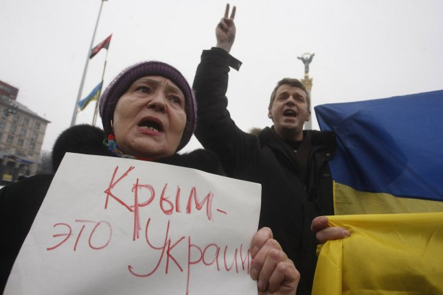 People protest against Russia about situation in Crimea on Independence Square in Kiev on March 2, 2014. UPI/Ivan Vakolenko