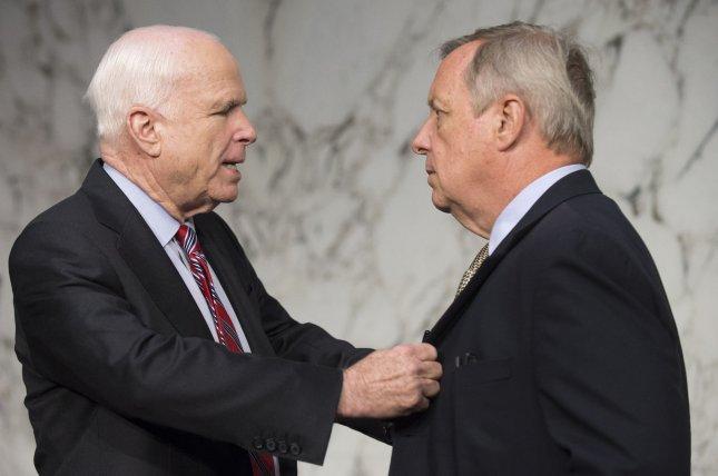 Sens. John McCain, R-Ariz, and Richard Durbin, D-Ill., have been among the staunchest supporters for sending aid to Ukraine. UPI/Kevin Dietsch