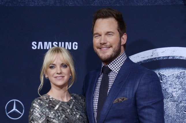 Chris Pratt (R) and wife Anna Faris at the Los Angeles premiere of Jurassic World on June 9, 2015. The actor plays Peter Quill, aka Star-Lord, in the Guardians of the Galaxy movies. File Photo by Jim Ruymen/UPI