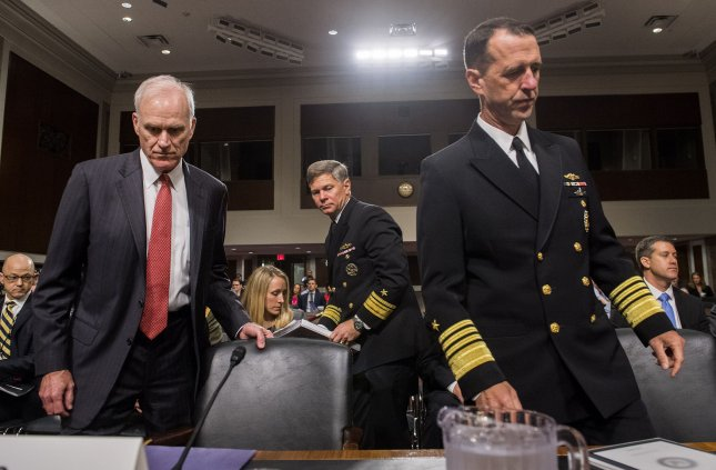 Secretary of the Navy Richard Spencer (L) and Navy Adm. John Richardson (R), chief of naval operations, arrive for a Senate Armed Services Committee hearing on the recent Naval incidents in Asia, on Capitol Hill in Washington, D.C. on September 19, 2017. Two Navy ships collided with civilian ships in the western Pacific killed 17 sailors at sea. Photo by Kevin Dietsch/UPI