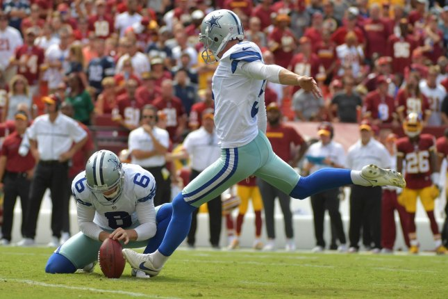 Dallas Cowboys kicker Dan Bailey kicks a 31-yard field goal in the second quarter against the Washington Redskins at FedEx Field in Landover, Maryland on September 18, 2016. File photo by Kevin Dietsch/UPI