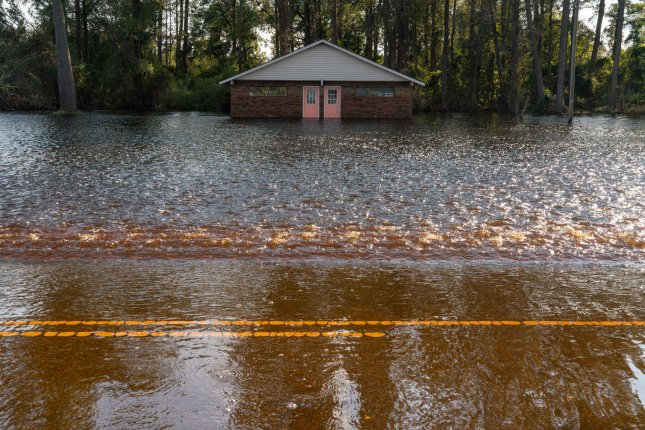 Floodwaters from Hurricane Florence are seen in Chinquapin, N.C., Wednesday. Officials are still dealing with the storm's impact days after it disappeared. Photo by Ken Cedeno/UPI