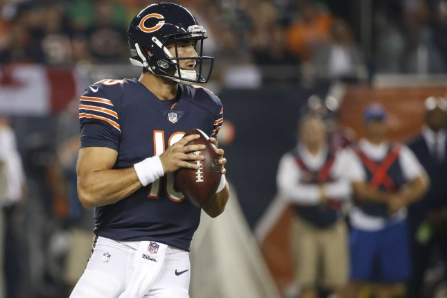 Mitchell Trubisky (10) of the Chicago Bears looks to pass the ball against the Seattle Seahawks during the first half on September 17 at Soldier Field in Chicago. Photo by Kamil Krzaczynski/UPI