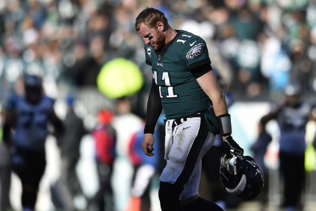 Philadelphia Eagles quarterback Carson Wentz walks off the field after a late turnover during the fourth quarter against the Carolina Panthers on October 21, 2018 at Lincoln Financial Field in Philadelphia. Photo by Derik Hamilton/UPI