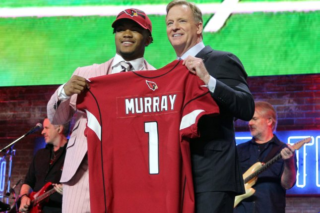 Oklahoma's Kyler Murray  poses Friday with NFL Commissioner Roger Goodell after being picked with the No. 1 overall selection in the 2019 NFL Draft. Photo by John Sommers II/UPI