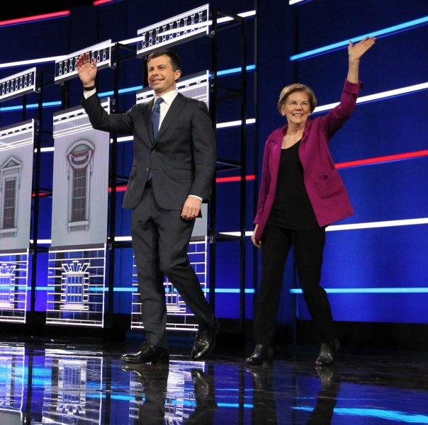 South Bend, Ind., Mayor Pete Buttigieg and Sen. Elizabeth Warren, D-Mass., said they wouldn't cross a picket line to participate in Thursday's debate at Loyola Marymount University. Photo by Tami Chappell/UPI