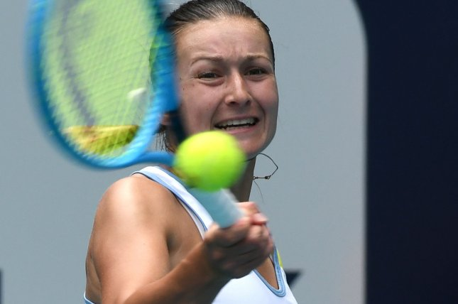 Dalila Jakupovic was winning her qualifier match against Stefanie Voegele before being forced to retire Tuesday at the Australian Open in Melbourne. File Photo by Gary I Rothstein/UPI
