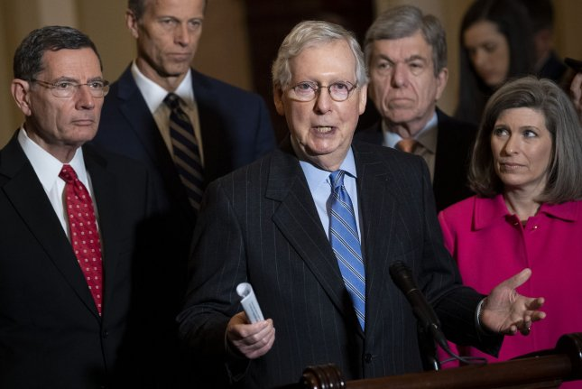 Senate Republican leader Mitch McConnell speaks to the media Tuesday on Capitol Hill. Photo by Kevin Dietsch/UPI