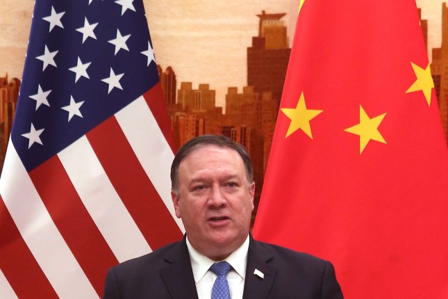 U.S. Secretary of State Mike Pompeo condemned alleged attempts by China to steal U.S. data and research into COVID-19. Photo by Stephen Shaver/UPI