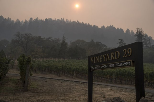 A red flag warning went into effect for North and South Bay, central Mendocino County, western Monterey County and most of the Los Padres National Forest in California as deadly wildfires burn throughout the state. Photo by Terry Schmitt/UPI