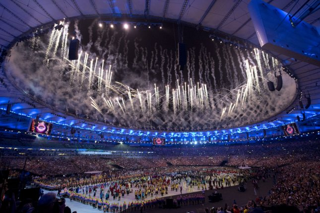 Fireworks ignite during the opening ceremony of the 2016 Summer Olympics in Rio de Janeiro, Brazil, on August 5, 2016. File Photo by Terry Schmitt/UPI